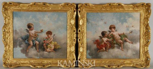 6012: Pair of European Paintings, Putti in Clouds