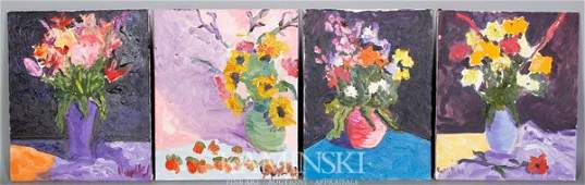 6234: Kaknes, Four Floral Still Life Paintings, O/C