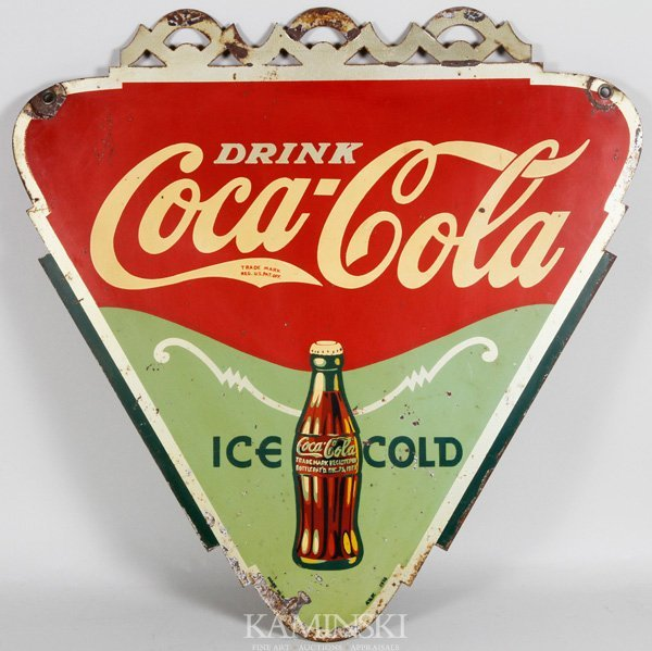 8006: 1934 Coca-Cola Double Sided Tin Sign