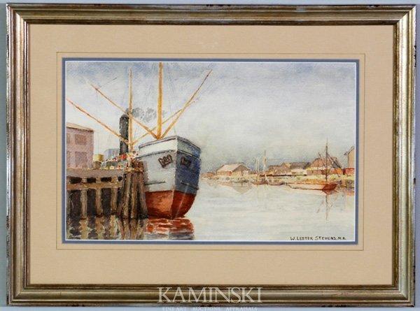 8016: Stevens, Trawler at Dock, W/C