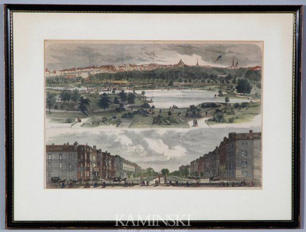 8021: 19th C. Colored Engraving of Two Boston Scenes