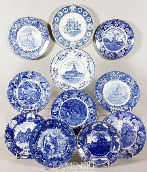 8022: 11 Blue and White Souvenir Plates