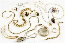 8442 Large Lot of Assorted Gold Jewelry and Watches