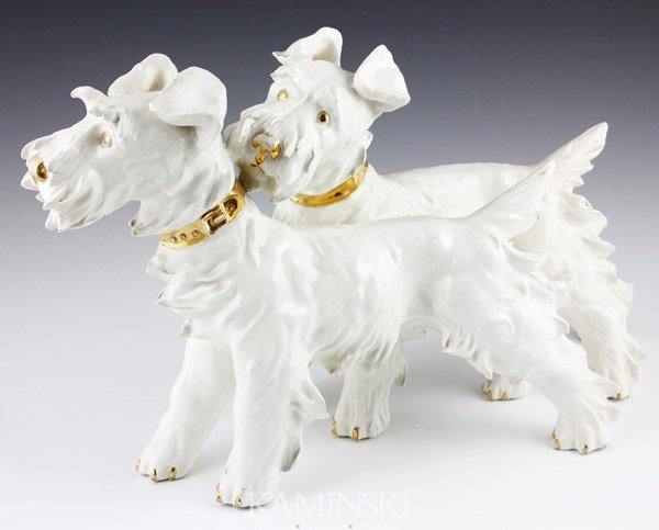 "1004: Mollica Brothers, ""Scottie Dogs"", Porcelain"