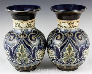 Pair of 19th C. Doulton Lambeth Vases