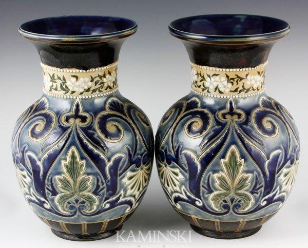 9010: Pair of 19th C. Doulton Lambeth Vases