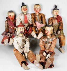 6 Hand Made Thai Puppets