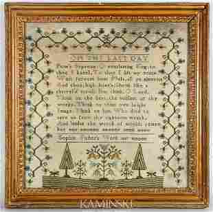 Early Sampler Dated 1807 by Sophia Fisher