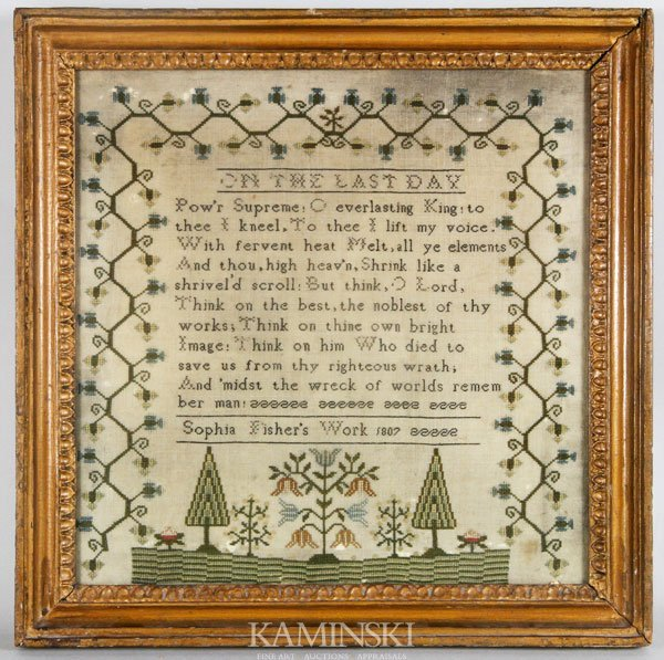 9020: Early Sampler Dated 1807 by Sophia Fisher
