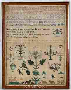 Early Sampler Dated 1826 by Mary Spencer