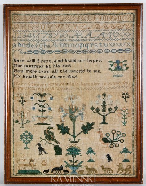 9021: Early Sampler Dated 1826 by Mary Spencer