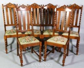 9024: Set of 6 Oak Side Chairs
