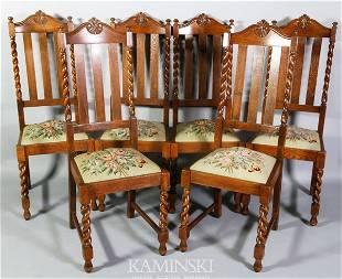 Set of 6 Oak Side Chairs
