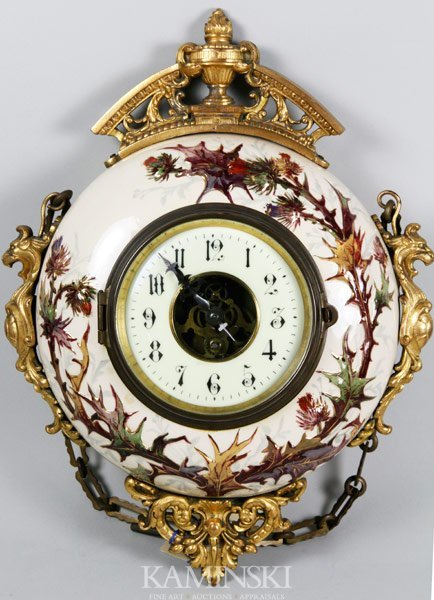 3015: Early 20th C. Hanging Porcelain Clock