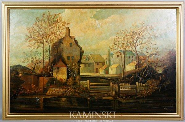 """3016: Skilling, """"English Village"""" O/C"""