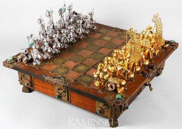 3156: Figural Art Metal Chess Set
