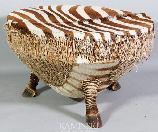 African Drum Coffee Table.3475 African Zebra Drum Table