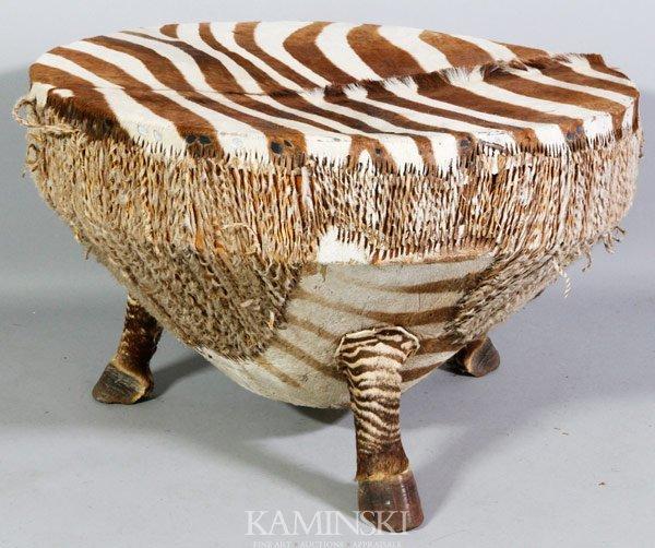 3475: African Zebra Drum Table