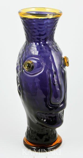 4007: Adams for Blenko Glass, Hand Blown Face Vase, Vio