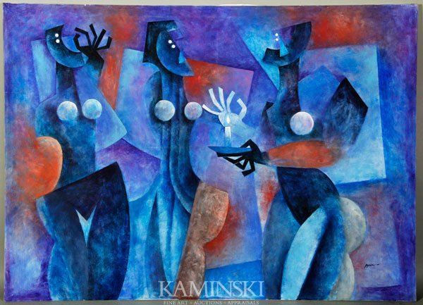 4025: Galvez, 3 Abstract Figures, O/C