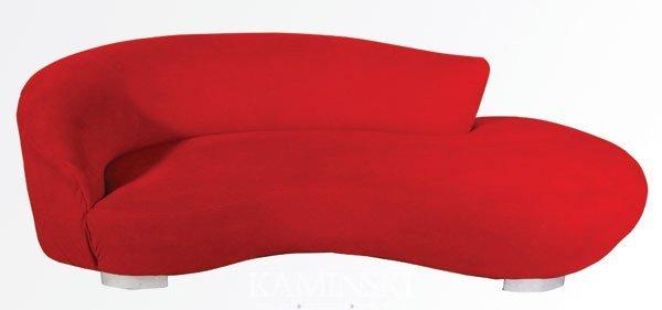 4427: Red Kagan Serpentine Sofa