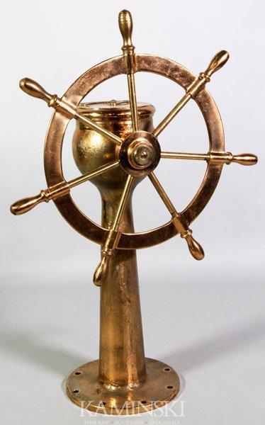 5001: Brass Ship's Steering Column & Wheel