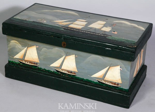 5020: Early 20th C. Ship Decorated Chest