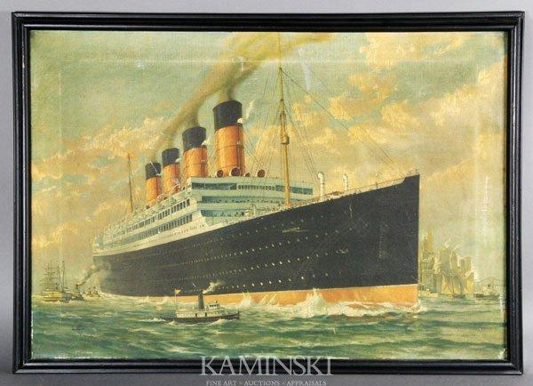 "5024: ""Aquitania"" Lithograph on Canvas"