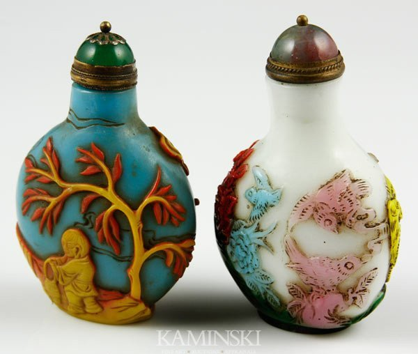 8015: 2 Chinese Glass Snuff Bottles