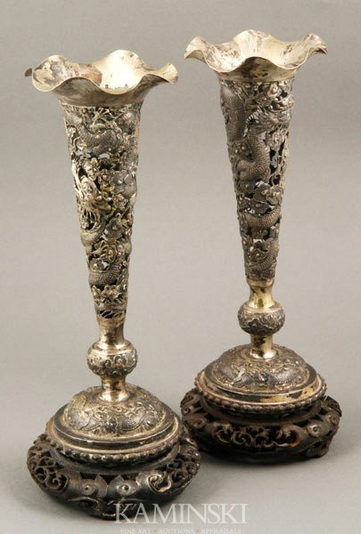 9005: Pair of 19th C. Chinese Silver Vases