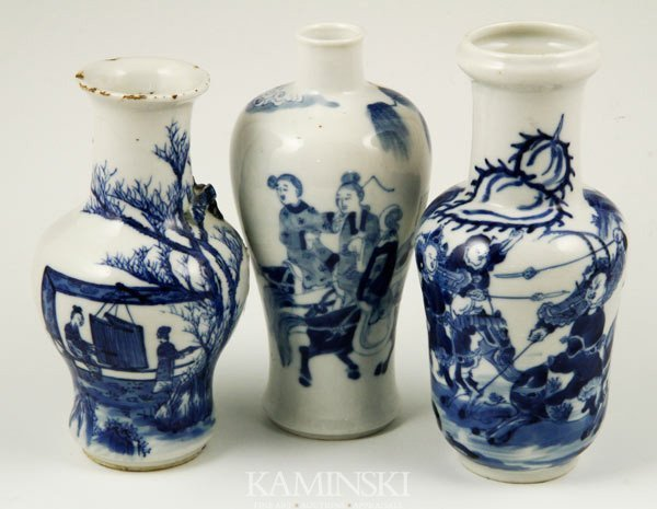 9015: 3 Chinese Blue and White Vases
