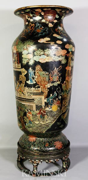 9110: Monumental Chinese Painted Lacquer Urn