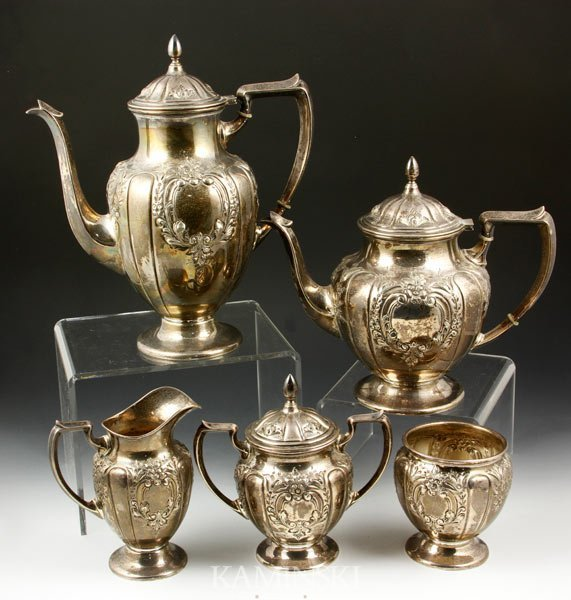 3001: 5 Piece Fisher Sterling Tea/Coffee Set
