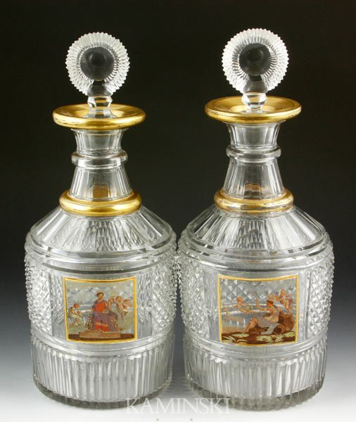 3002: Pair of Enameled Presentation Decanters