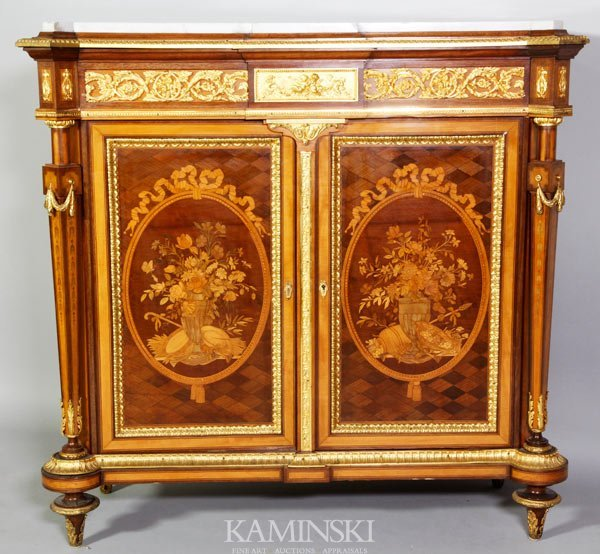 3162A: 19th C. French Marquetry Cabinet - 2