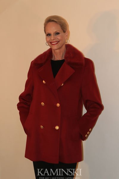1005: Red Cashmere Jacket with Mink Collar