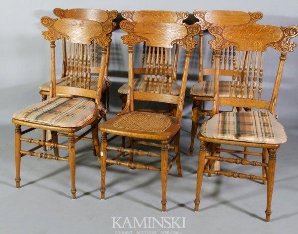 4005: 6 Oak Side Chairs
