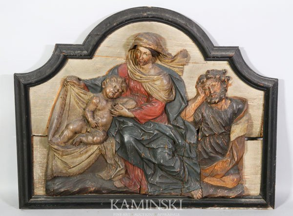 4008: 18th/ 19th C. Carved Plaque of Holy Family