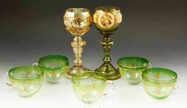 4020: 7 Pieces of Moser Style Glassware