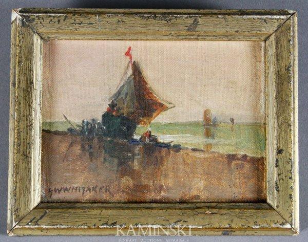 5005: Whitaker, Fishing Boats Near Shore, O/C