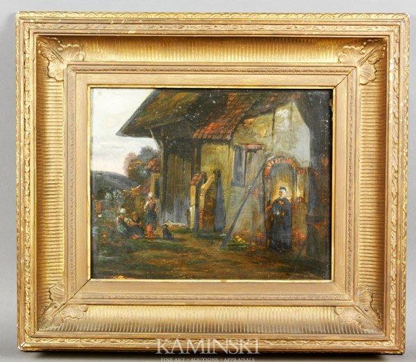 5008: 19th C. Italian School, Cottage Scene, O/P