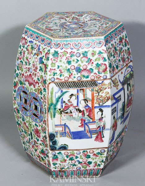 5019: 19th C. Chinese Export Famille Rose Garden Seat