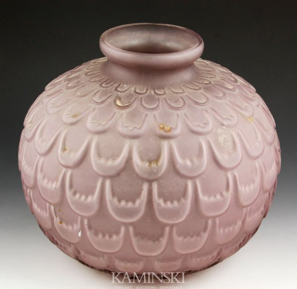 5021: Amethyst Molded Frosted Vase
