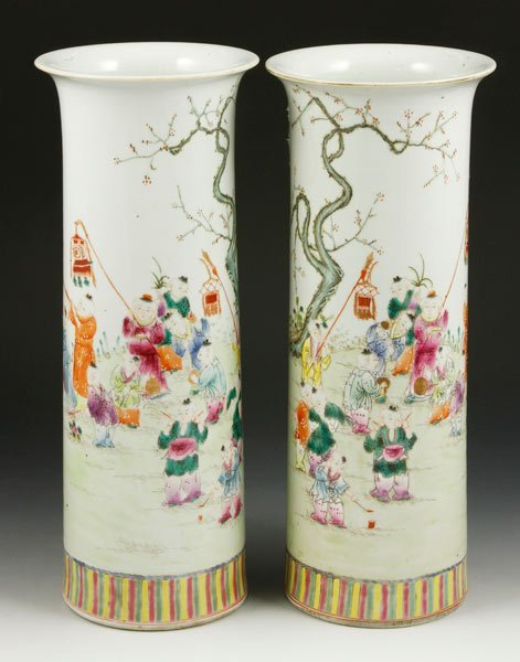 7021: Chinese Pair of Famille Rose Vases
