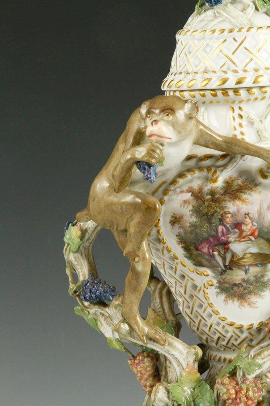 19th C. Meissen Figural Perforated Vase - 3