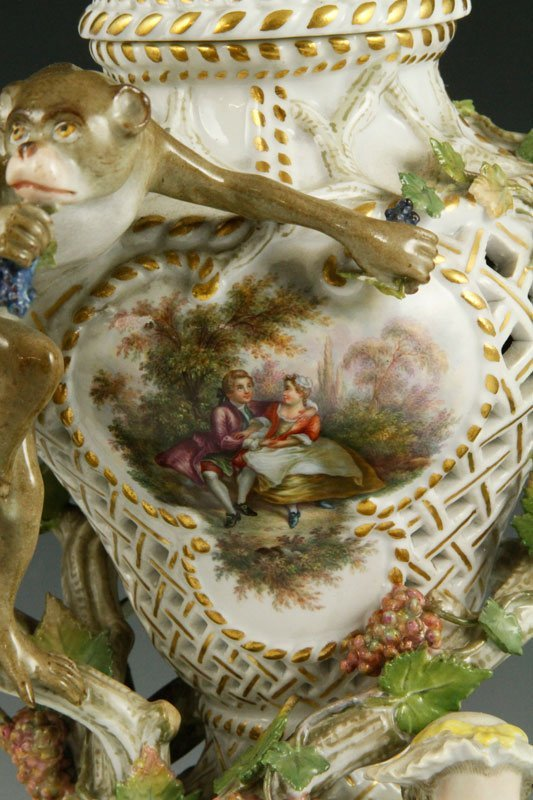 19th C. Meissen Figural Perforated Vase - 4
