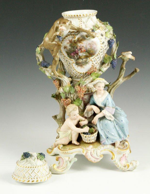 19th C. Meissen Figural Perforated Vase - 5