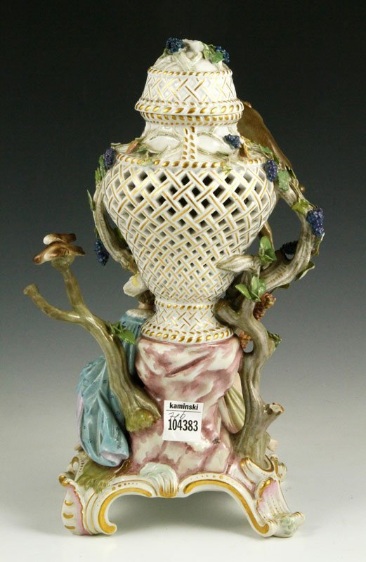 19th C. Meissen Figural Perforated Vase - 6