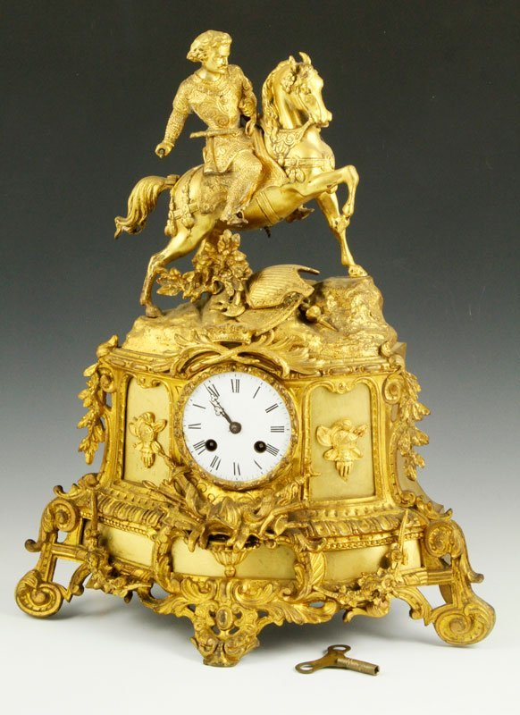 19th C. French Gilt Mantle Clock