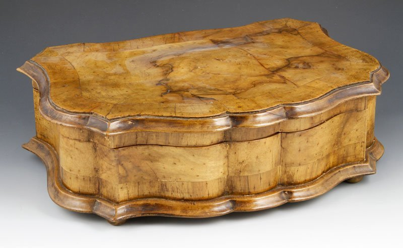 19th C. Fruitwood Jewelry Casket